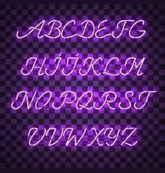 Glowing purple neon uppercase script font vector