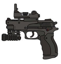 Handgun with a laser sightseeing vector