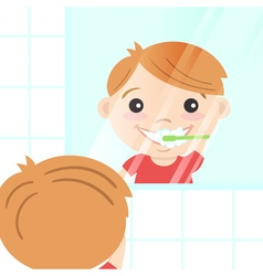 Happy cute boy cleaning his teeth with toothpaste vector