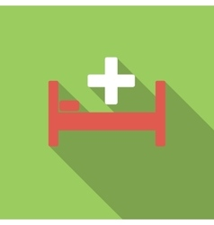 Hospital bed flat icon vector image vector image