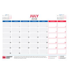 july 2018 calendar planner design template week vector image vector image