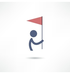man with flag icon vector image vector image