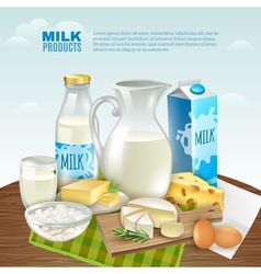 Milk Products Background vector image