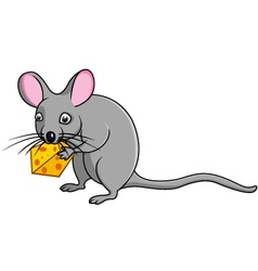 Mouse cartoon with cheese vector image vector image