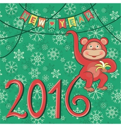 new year 2016 with monkey vector image vector image