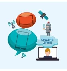 Online game laptop bubble speech character vector