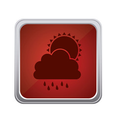 Red emblem cloud rainning with sun icon vector