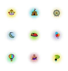 Rides icons set pop-art style vector image vector image