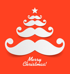 santas mustache christmas tree vector image vector image