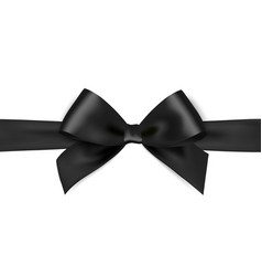 Shiny black satin ribbon on white background vector image vector image