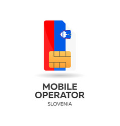 Slovenia mobile operator sim card with flag vector