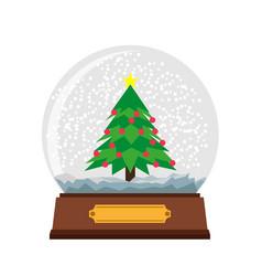 snow globe christmas glass ball background winter vector image