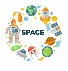 Space voyage promotional emblem in shape of circle vector