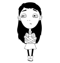 Sulky girl with braid and big eyes not smiling vector