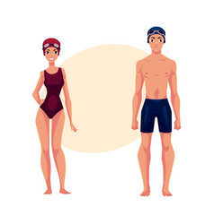 Swimmers man and woman in swimming suits caps vector