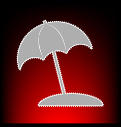 umbrella and sun lounger sign postage stamp or vector image