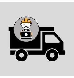 Under construction laptop worker dump truck vector