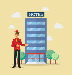 welcome to hotel bellboy service vector image