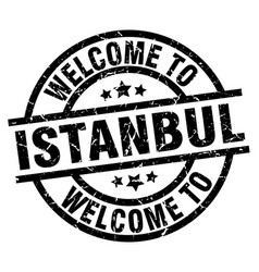 Welcome to istanbul black stamp vector