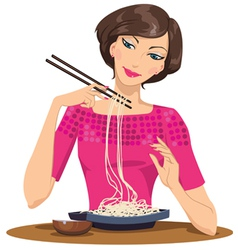 Woman eating pasta vector
