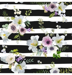 Vintage Lily and Anemone Flowers Background vector image