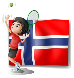 A boy playing tennis in front of the Bouvet Island vector image