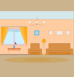 Cartoon background living room vector