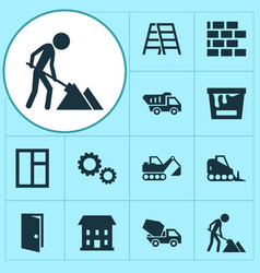 Architecture icons set collection of home wall vector