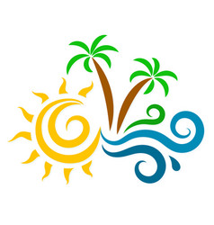 Sun waves and palm trees silhouette vector