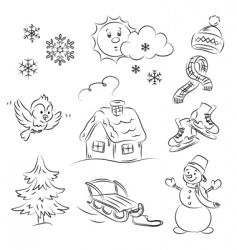 winter set vector image