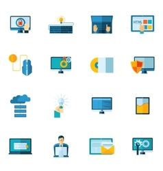 Program development icons set vector