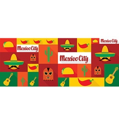 Travel and tourism icons mexico vector