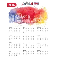 Calendar 2016london landmarks panoramawatercolor vector