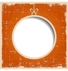 Blank christmas ball on orange textured grunge vector image