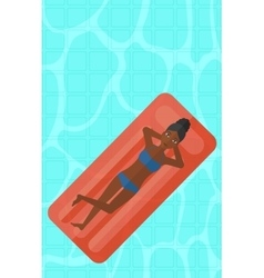 Woman relaxing in swimming pool vector