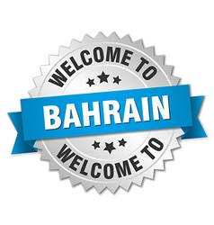 Bahrain 3d silver badge with blue ribbon vector