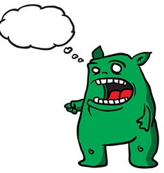 Green monster 1 with thought bubble vector