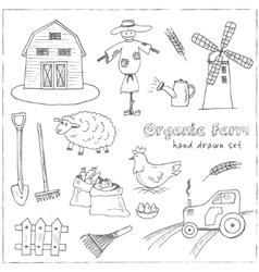 Organic farm hand drawn decorative icons set vector image