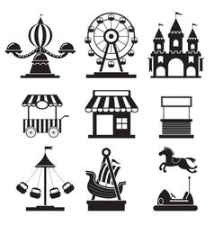 Amusement park objects icons mono set vector