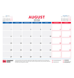 august 2018 calendar planner design template week vector image vector image