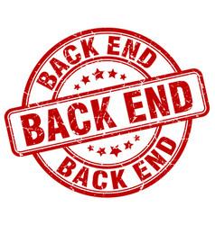 Back end red grunge stamp vector