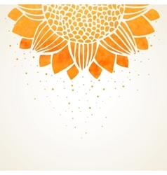 Background with watercolor sunflower vector