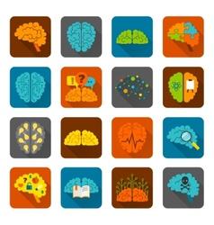 Brain icons flat set vector image vector image