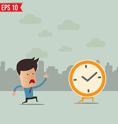 Business man run follow the clock - - EPS10 vector image