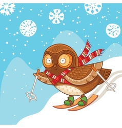 Cute cartoon owl skiing and having fun vector image