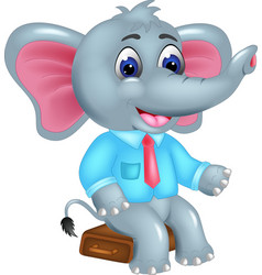 Cute elephant cartoon sitting with smile vector