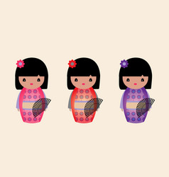 Cute japanese kokeshi dolls vector
