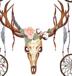 Deer skull pattern vector image vector image