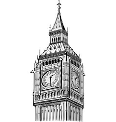 detail big ben tower london symbol england vector image