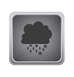 gray emblem cloud rainning and snowing icon vector image